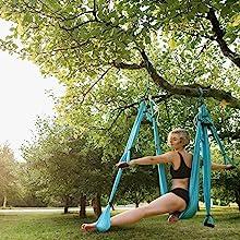 yoga trapeze straps yoga hammock tree trapeze yoga swing aerial yoga silk flying yoga hammock blue