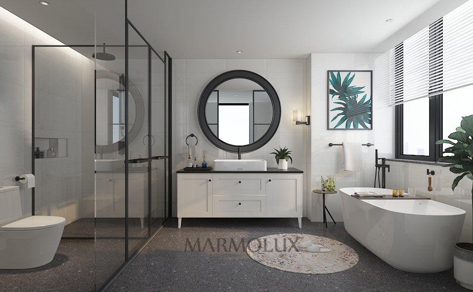 Amazon Com Marmolux Acc Towel Bar Hand Towel Holder Towel Rod Bathroom Towel Racks Towel Hanger Heavy Duty Wall Mount Bathroom Hardware Stainless Steel Matte Black Kitchen Dining