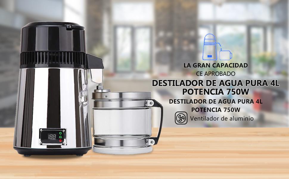 ZEHNHASE 1,1 Galones / 4L 750W Destilador de Agua de Acero Inoxidable, Purificador de Agua con manija Botones Dobles ...