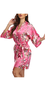 floral satin robe for bridal shower party dressing gowns Bachelorette party nightgowns bridesmaids