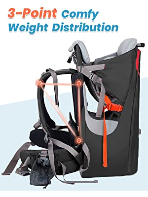 Safe Toddler Hiking Backpack Carrier with Large Storage Space/&Insulated Pocket Ergonomic Child Carrier Hiking with Sun Canopy Adjustable Padded Child Seat for Outdoor WIPHA Baby Backpack Carrier