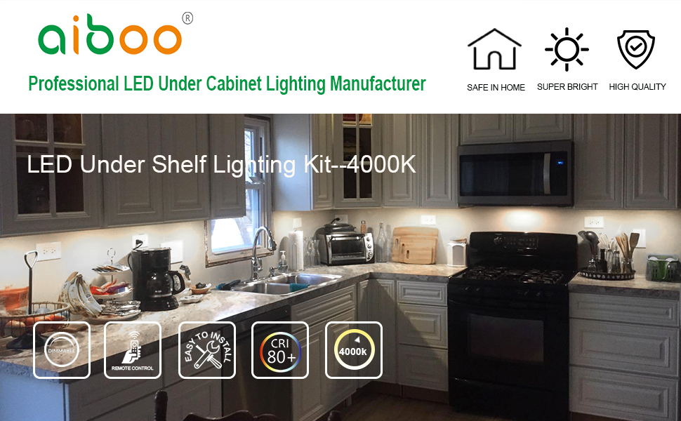 Amazon Com Aiboo Led Under Cabinet Lighting Fixture Kitchen Under Counter Lights With Plug In And Wireless Rf Remote Control 6 Thin Cabinet Led Puck Light Kits 4000k Natural White Home Improvement