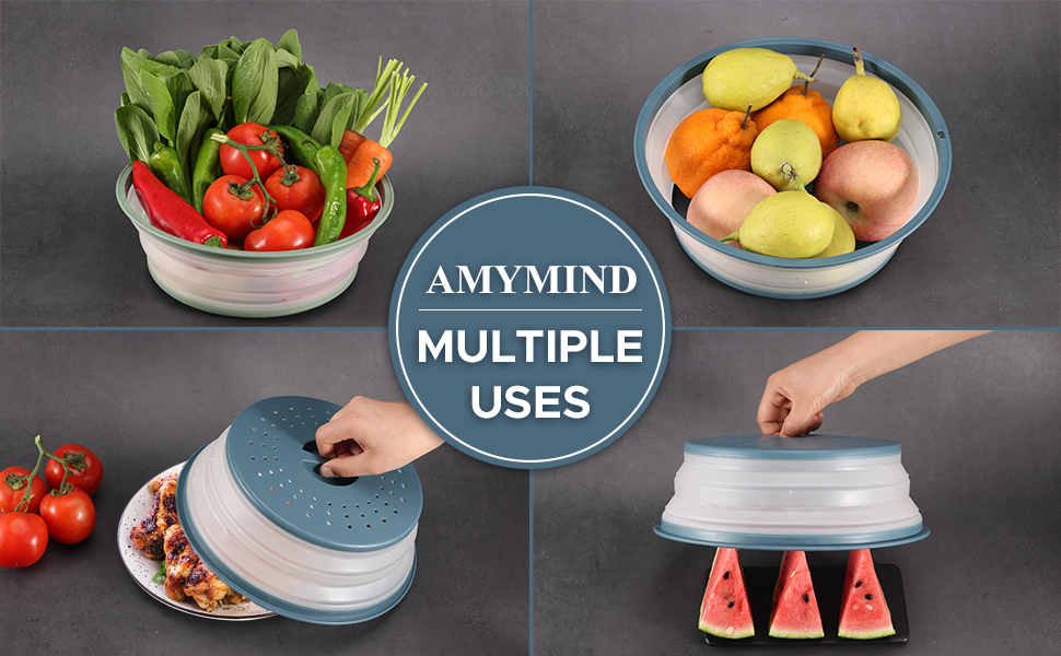 Our collapsible microwave cover can be flatten and flipped upside down used as a colander