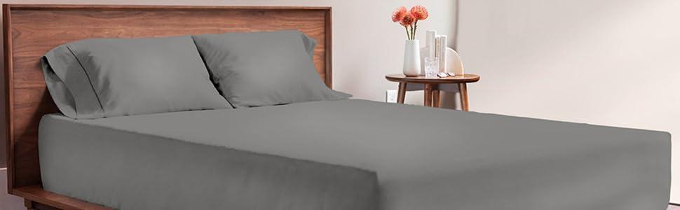 viscosoft, literie, linge de lit, drap, drap-housse, drap de lit, parure de lit, drap gris fonce
