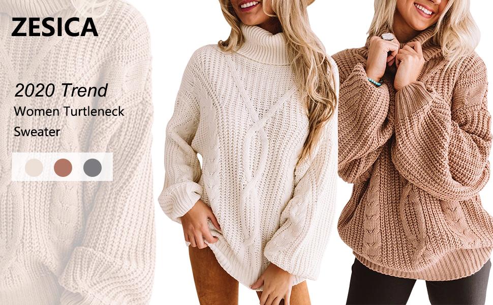 ZESICA Women's Long Sleeve Turtleneck Chunky Knit Loose Oversized Sweater Pullover Jumper Tops