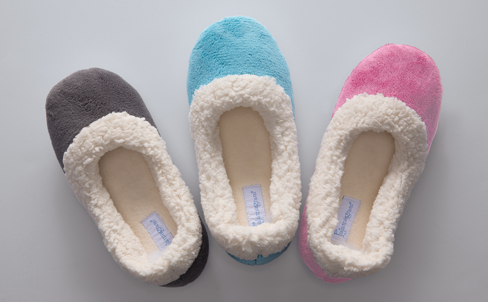 lineup of slippers on white background