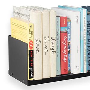 black u shape wall shelf CD DVD Book storage and display living room