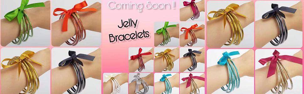 All Weather Glitter Jelly Bangle Set rainbow bracelet