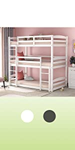 Triple twin bunk bed for kids wood white bunk bed 3 beds