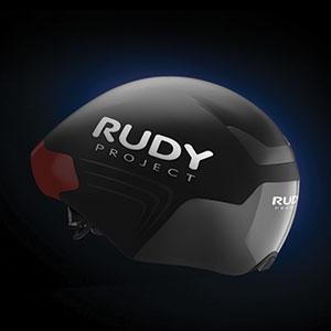 Black The Wing Aero helmet on black background with blue glow