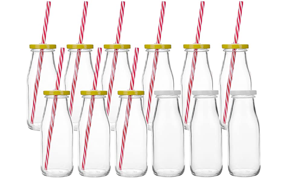 Kingrol 12 Pack Glass Milk Bottles, 11 oz Vintage Drinking Jar Bottles, Reusable Dairy Bottles