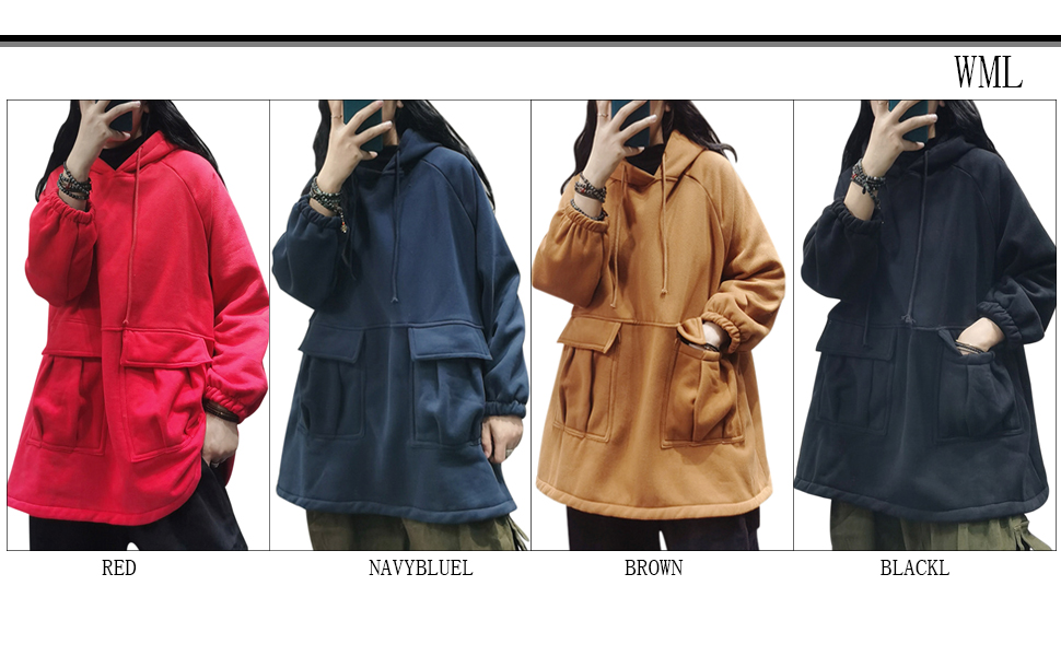 YESNO WZF Women Casual Fleece Pullover Hoodies Plus Size Active Jacket//Large Pockets