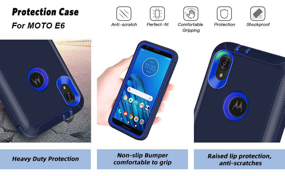MOTO E6 Case Heavy Duty Motorola E6 Case Dual Layer Full Body Protective Shell Moto E6 Case
