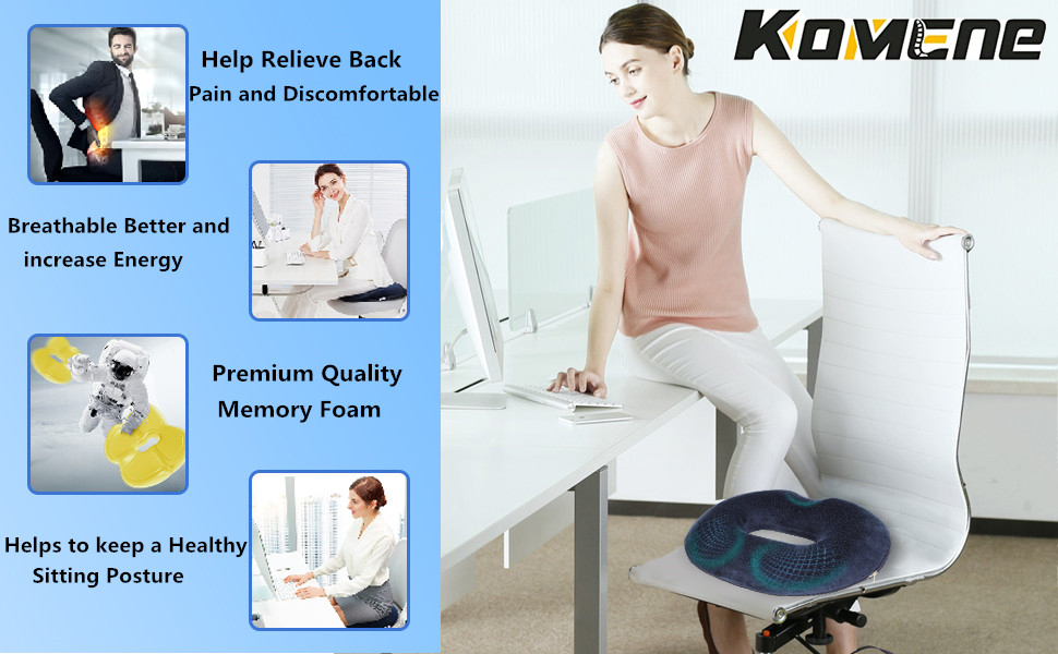 ERGONOMIC DONUT PILLOW FOR OFFICE CHAIR RELIEVE YOUR PAIN