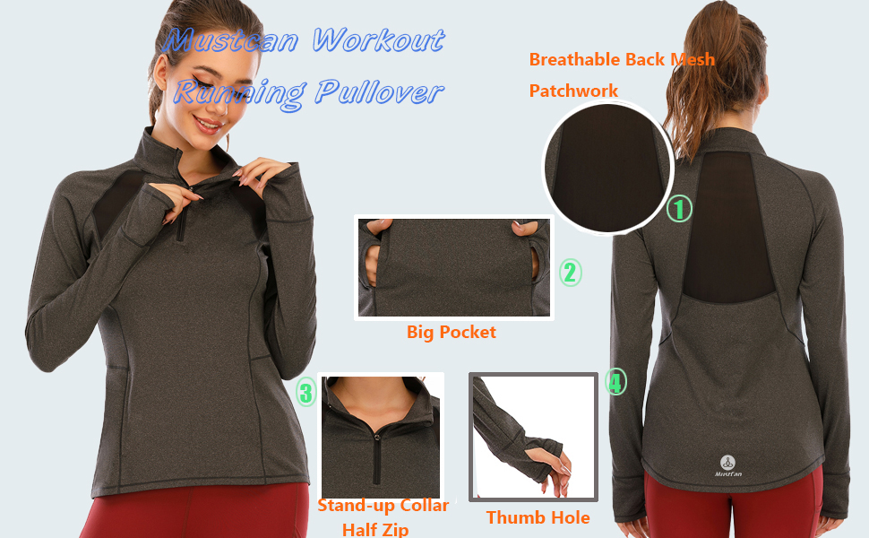 Westkun Womans Long Sleeve Top Running Shirts Jackets Half Zipper Yoga Workout Sweatshirt with Thumbholes