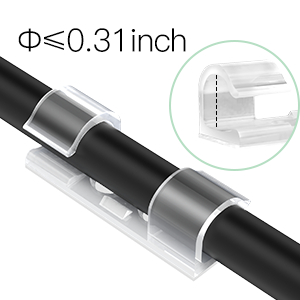70X Grapas de Pared para Cable, AGPTEK Organizador de Cables Clips de Cables con Tornillos y Adhesivo para Cables Electricos de USB, Audio para Hogar, ...