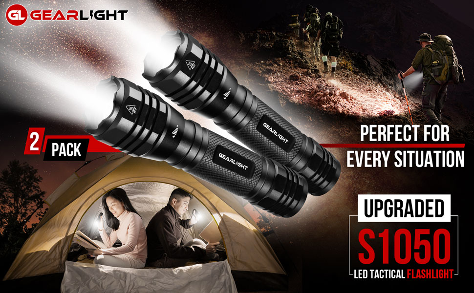 S1050 led tactical flashlight upgraded 2 pack