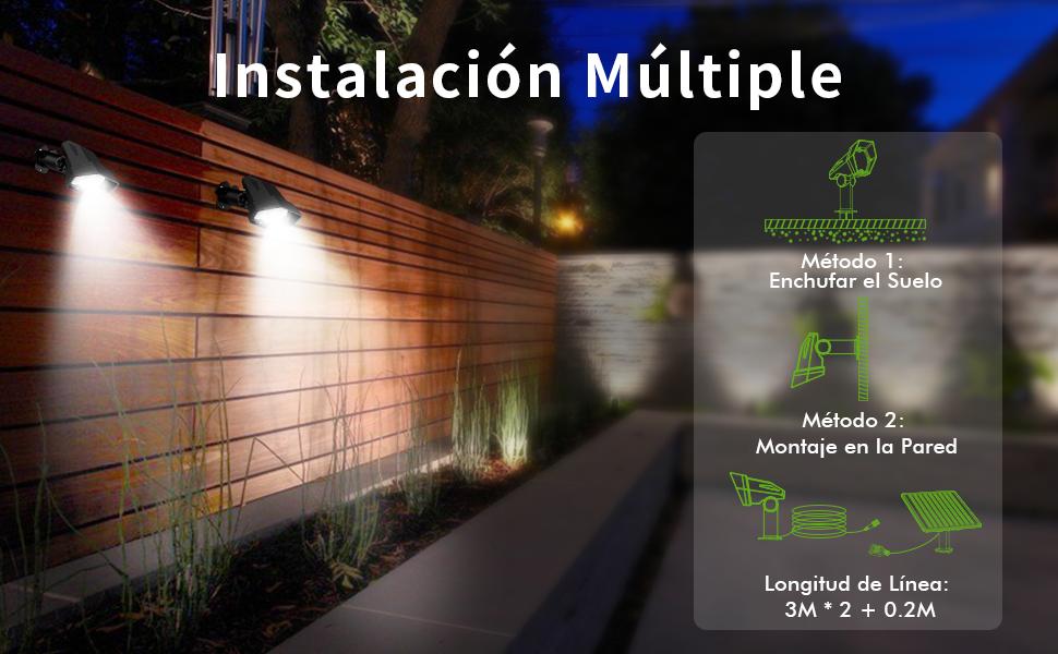 Luces Solares para Exterior, Ultra Potente Lámparas Solares Impermeable IP65, Focos LED Exterior con 3 modos luminosidad, Luz de Seguridad Solar Ajustable para Césped, Valla,Pasillo: Amazon.es: Iluminación