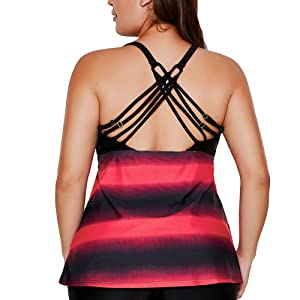 Aniywn Womens Criss Cross Back Color Block Print Tankini Top with Boyshorts Swimsuit 2 Piece Racerback Tankini Top
