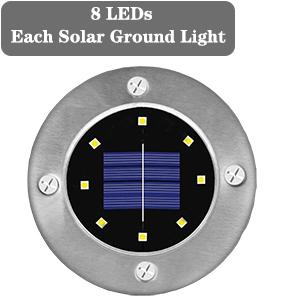 8 leds solar inground lights