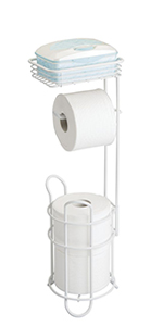 Metal Toilet Tissue Reserve Plus with Top Shelf in White