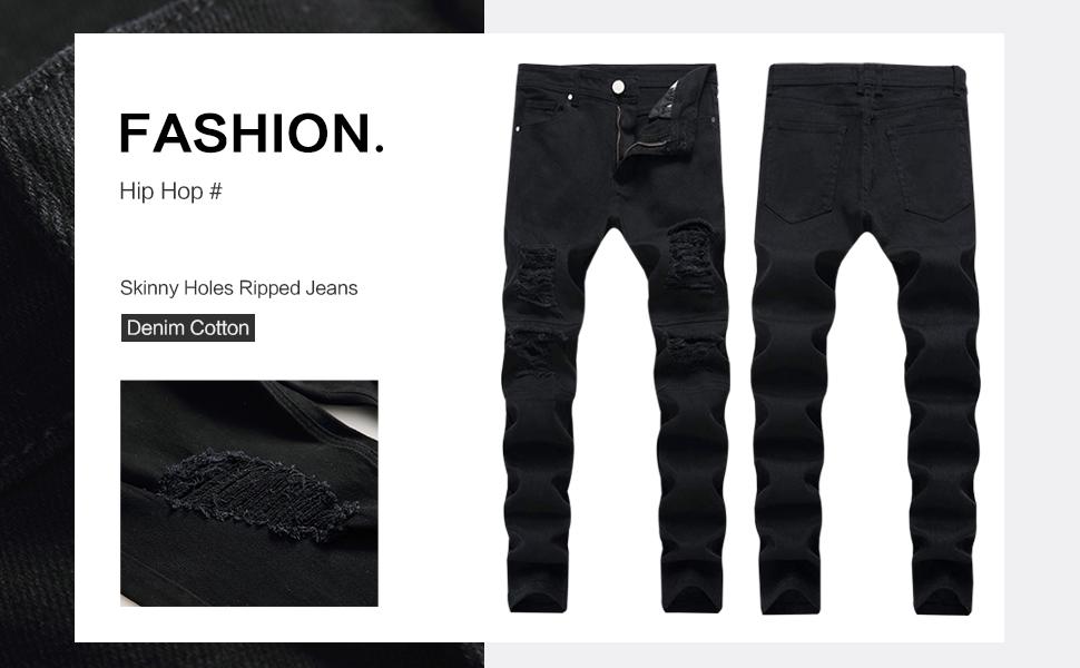 ripped jeans men black skinny biker holes slim fit hip hop straight tapered tight distressed design