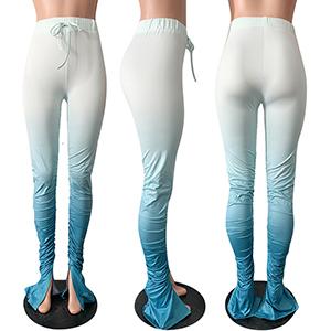 Women's Classic Side Slit Tie Dye Ruffle High Waist Long Trousers  Long Pants Leggings