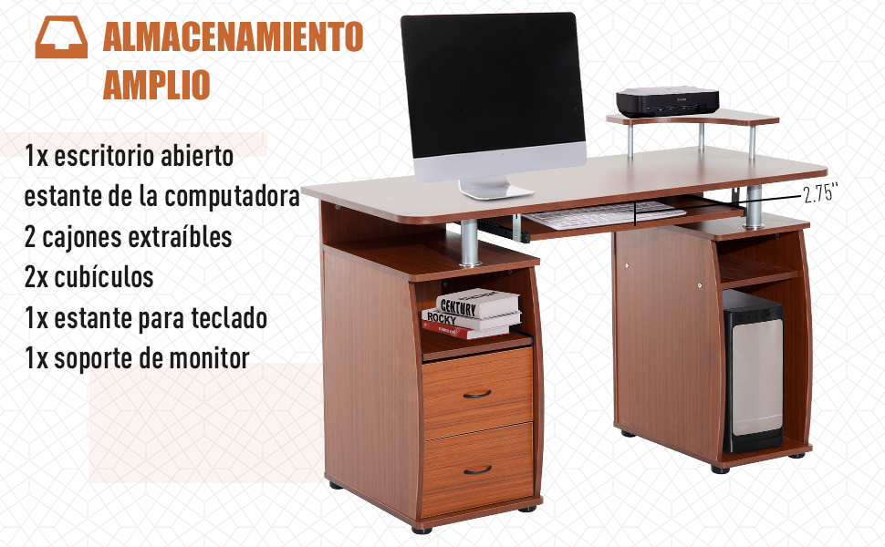 HomCom Mesa de Ordenador Color de Madera MDF 120x55x85cm: Amazon ...