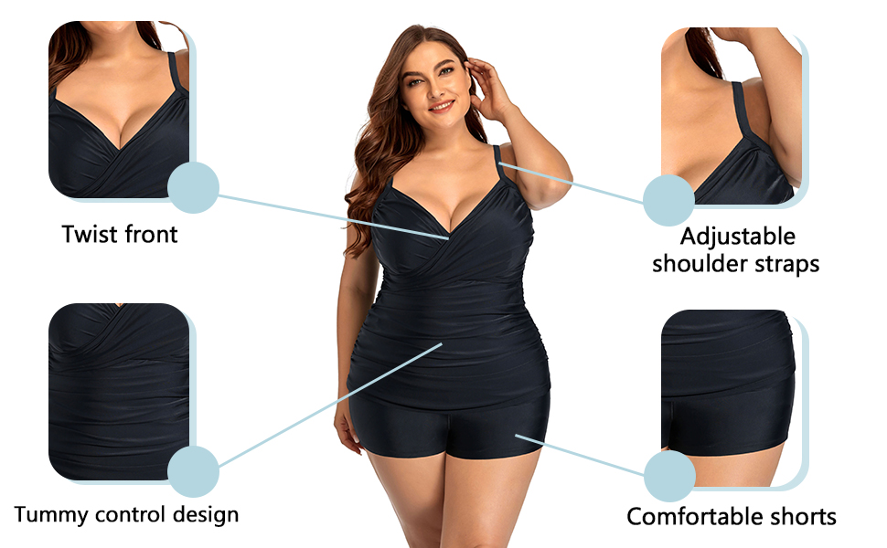 Women Plus Size Tankini Swimsuits Front Twist Tummy Control Two Pieces Bathing Suits with Shorts