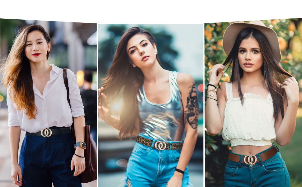 fashion women leather belt double o ring belt for women