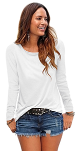womens long sleeve tops basic tee shirt solid color round neck lightweight comfy soft