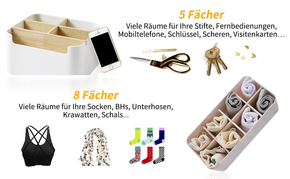 B/ürsten Controller und Scheren Xnuoyo Desk Organizer Aufbewahrungsbox Gummi Holz Tischhalter Multifunktions-Fernbedienungsbox f/ür Nagelknipser Pflegeflaschen