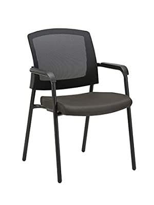 CLATINA Mesh Back Stack Arm Chairs with Upholstered Fabric Seat and Ergonomic Lumber Support for Office School Church Guest Reception Black