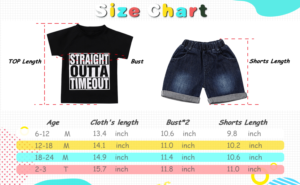 Baby Boy Summer Outfits Straight Outta Timeout Top and Denim Shorts Set Toddler Boys Clothes