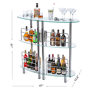 Free Standing Tempered Glass Bar Unit Cabinet