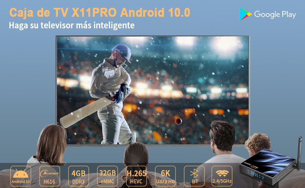 pendoo Android TV Box 10.0 4GB RAM 32GB ROM, [2020 más Nuevo] X11 Pro TV Box Allwinner H616 Quad-Core 64bit con Dual-WiFi 5GHz / 2.4GHz BT 4.2, USB ...