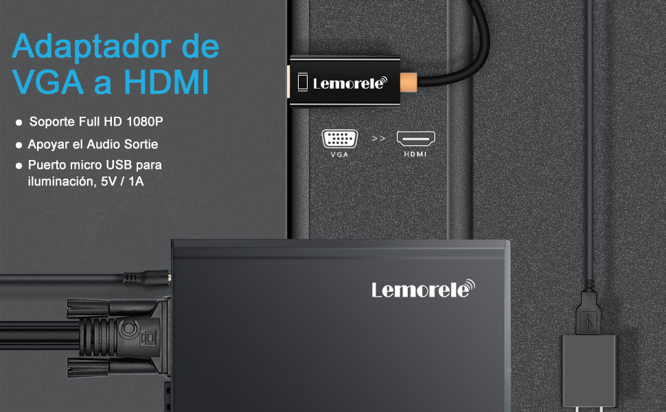 Lemorele Cable VGA a HDMI Adaptador VGA a HDMI 180cm 1080P 60Hz Conversor con Audio 3,5mm para Conectar Computadora Portátil, PC, TV Box, con Salida VGA a Monitor, TV, Proyector con Entrada