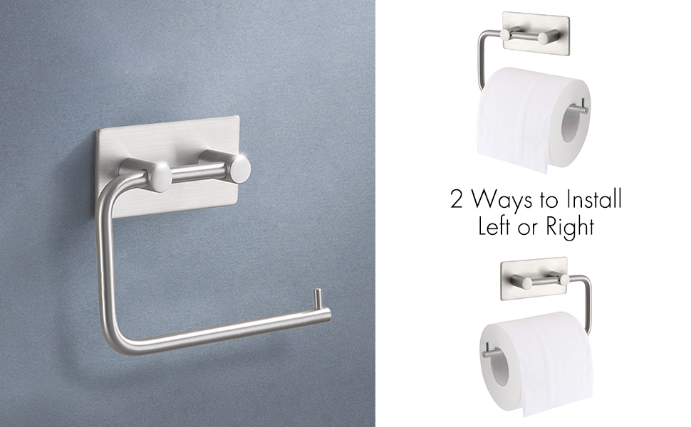 UMI. by Amazon Toilet Roll Holder Self Ahesive Towel Hanger Tissue Paper  for Bathroom Stick on Wall Rustproof SUS 304 Stainless Steel Brushed, A7070- 2: Amazon.co.uk: DIY & Tools