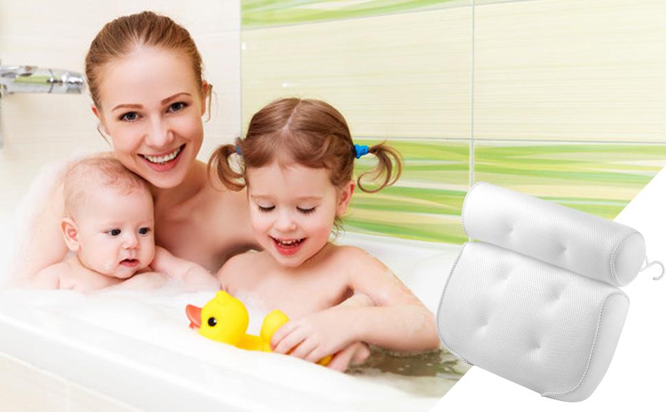 superdurchl/ässiges,extra dick f/ür perfekte Kopf- Hals- SHDHDI Komfort Badewannenkissen mit Saugn/äpfen,Kopf- und Nackenst/ütze f/ür die Badekissen R/ücken- und