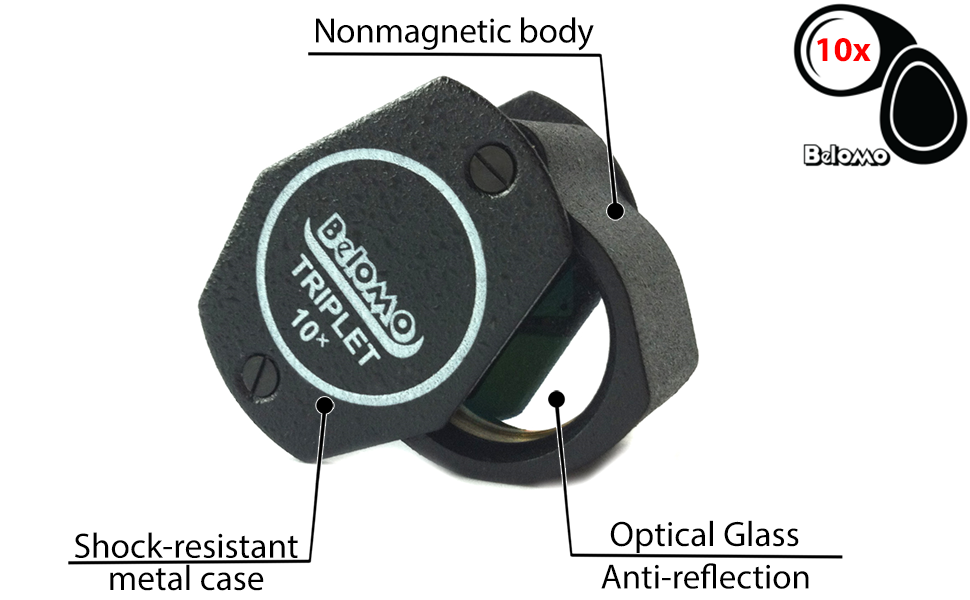 Amazon Com Belomo 10x Triplet Jewelers Loupe Magnifier 21mm 85 Optical Glass With Anti Reflection Coating For A Bright Clear And Color Correct View Foldable Loupe For Gems Jewelry Coins And Trichomes Office Products