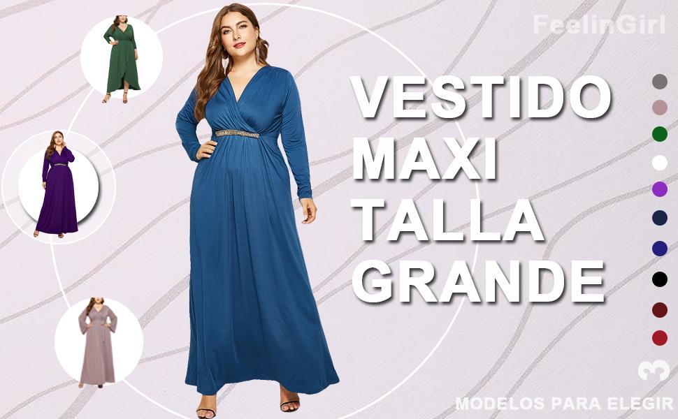 FeelinGirl Mujer Vestido Maxi Talla Grande de Manga Larga Falda ...