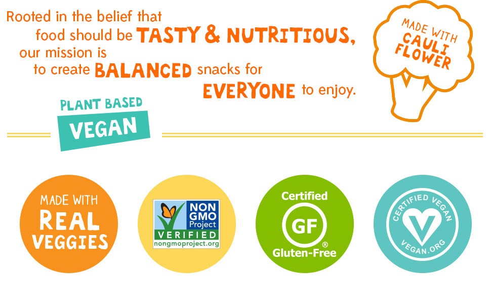 Plant-Based, Real Veggies, Non-GMO Project Verified, Certified Gluten Free, Certified Vegan