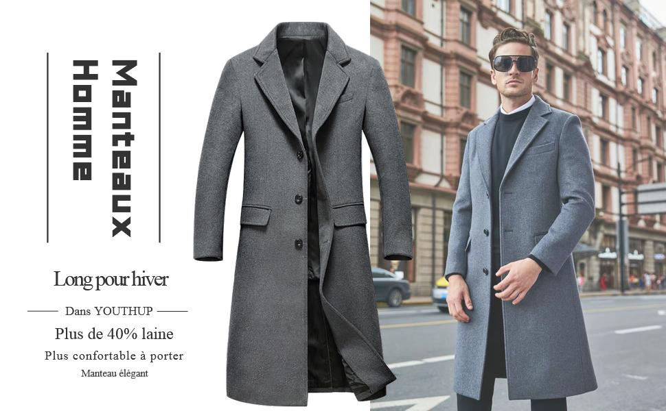 Manteau Homme Hiver Chaud Long Manteau en Laine Trench Coat