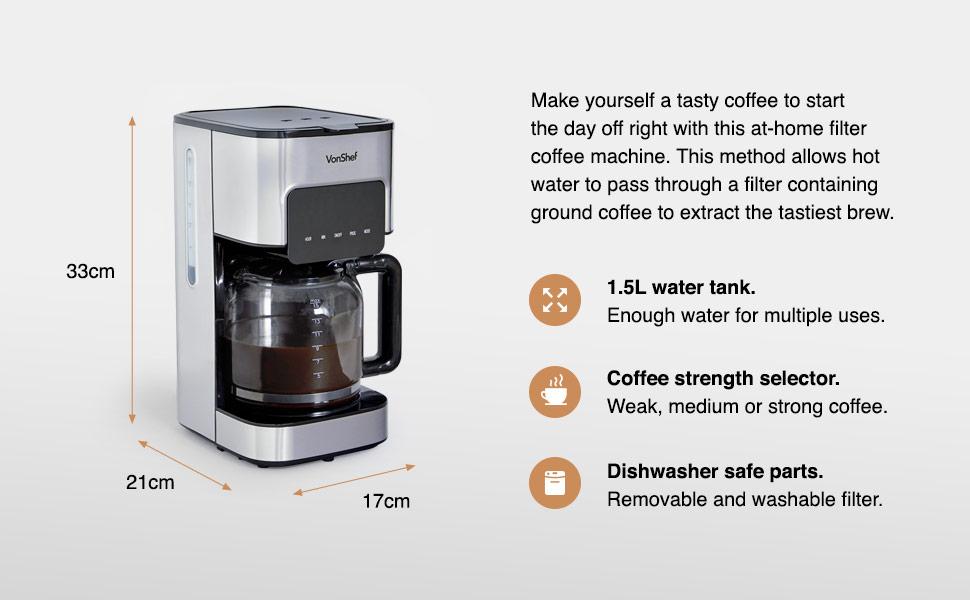 Filter coffee maker machine vonshef 1.5 litre stainless steel coffeemaker