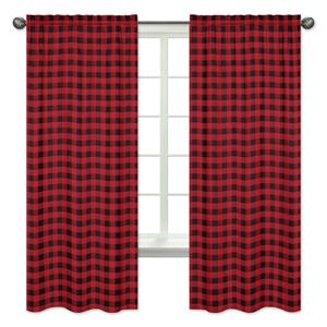 Buffalo curtains drapes Navy linen look curtains buck nursery curtains baby gift new born Bedding