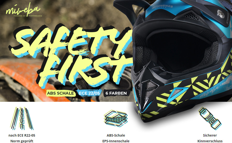 Stra/ßenzulassung Fullface Actionbikes Motors Kinder Cross Helm Hornet ECE 22//05 Norm Downhill Rot, M Motocross Crosshelm
