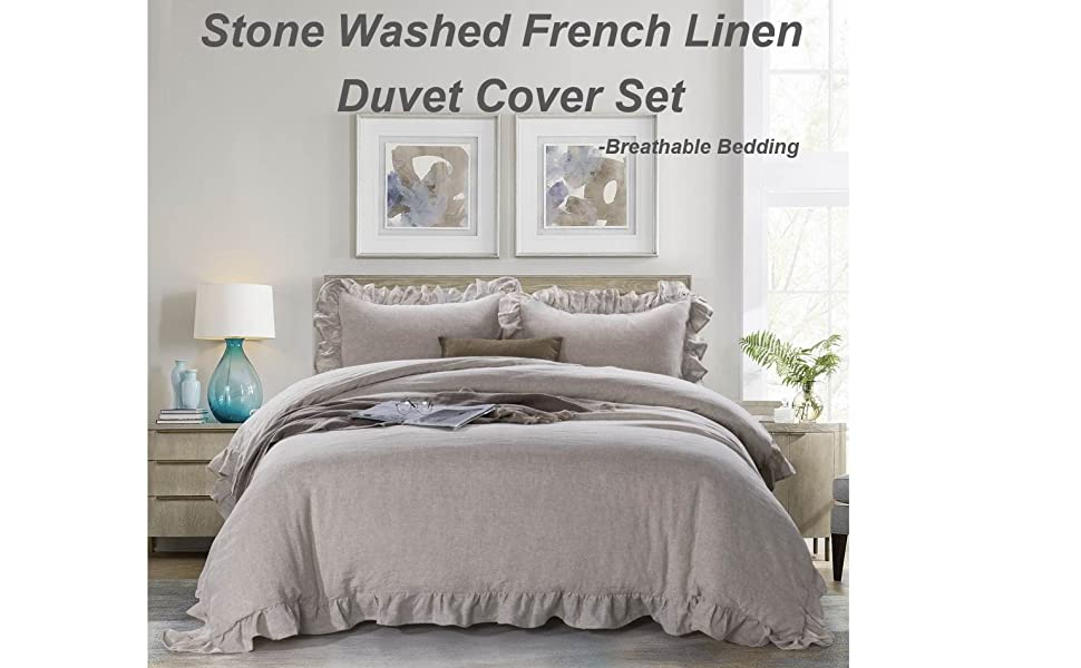 Amazon Com Meadow Park 100 Stone Washed Linen Duvet Cover Set 3 Pieces Queen Size 90 Inches X 92 Inches Shams 20 Inches X 26 Inches Ruffled Style Button Closure Corner Ties Super