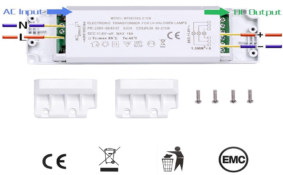 210W pour Lampe Halog/ène 0.92A 12V DC Yafido Driver Transformateur /électronique 50