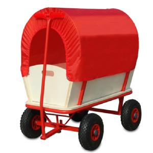 Deuba Carro para Jardin de Madera Carretilla con Techo Rojo Carga hasta 180Kg de Transporte jardinería para Exterior: Amazon.es: Hogar