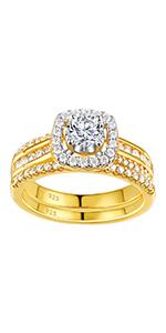 Newshe Yellow Gold Cubic Zirconia Bridal Set CZ Engagement Rings Wedding BR0982